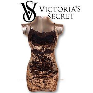 VS Brown Crushed Velvet Slip Dress Lingerie